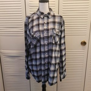 American Rag Black Blue & White Plaid Flannel XL